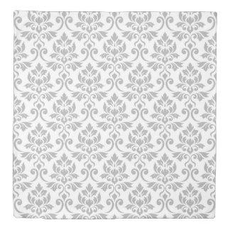 Feuille Damask Big Pattern Gray on White Duvet Cover