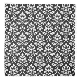 Feuille Damask Big Pattern White on Black Duvet Cover
