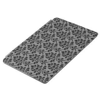 Feuille Damask (H) Pattern Black on Gray iPad Air Cover