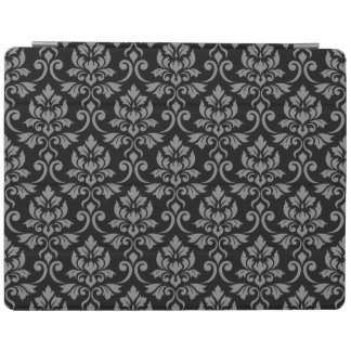 Feuille Damask (H) Pattern Gray on Black iPad Cover