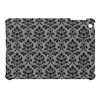 Feuille Damask Pattern Black on Gray Case For The iPad Mini
