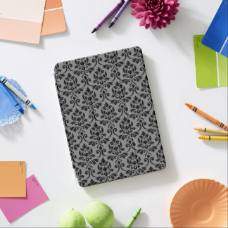 Feuille Damask Pattern Black on Gray iPad Air Cover