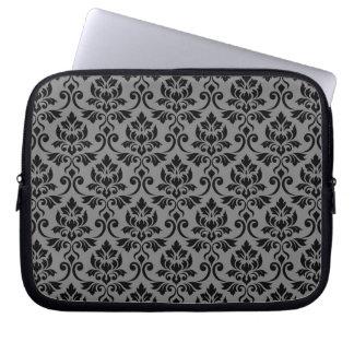 Feuille Damask Pattern Black on Gray Laptop Sleeve