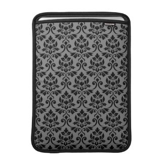 Feuille Damask Pattern Black on Gray MacBook Sleeve