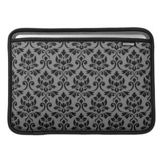 Feuille Damask Pattern Black on Gray Sleeve For MacBook Air