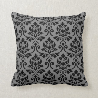 Feuille Damask Pattern Black on Gray Throw Pillow