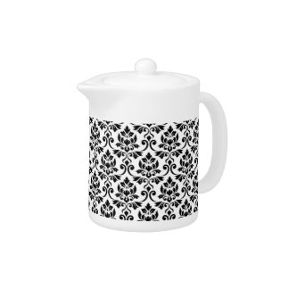 Feuille Damask Pattern Black on White