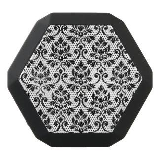 Feuille Damask Pattern Black on White Black Bluetooth Speaker