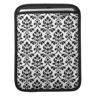 Feuille Damask Pattern Black on White iPad Sleeve
