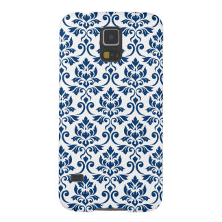 Feuille Damask Pattern Dark Blue on White Case For Galaxy S5