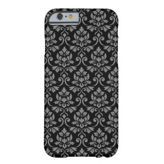 Feuille Damask Pattern Gray on Black Barely There iPhone 6 Case