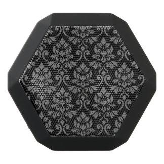 Feuille Damask Pattern Gray on Black Black Bluetooth Speaker