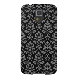 Feuille Damask Pattern Gray on Black Case For Galaxy S5