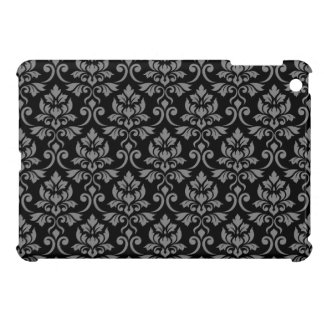 Feuille Damask Pattern Gray on Black Case For The iPad Mini