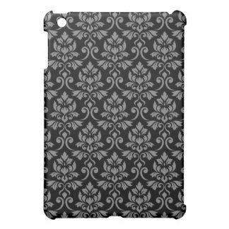Feuille Damask Pattern Gray on Black Cover For The iPad Mini