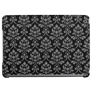 Feuille Damask Pattern Gray on Black iPad Air Case