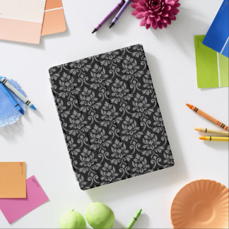 Feuille Damask Pattern Gray on Black iPad Cover