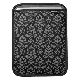 Feuille Damask Pattern Gray on Black iPad Sleeve