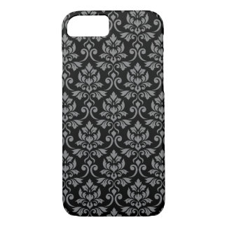 Feuille Damask Pattern Gray on Black iPhone 8/7 Case