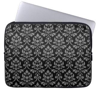 Feuille Damask Pattern Gray on Black Laptop Sleeve