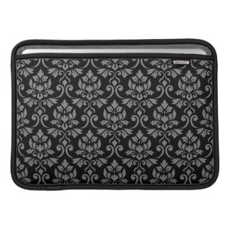 Feuille Damask Pattern Gray on Black Sleeve For MacBook Air