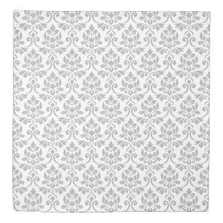 Feuille Damask Pattern Gray on White Duvet Cover