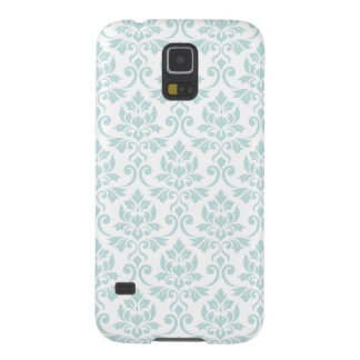 Feuille Damask Pattern Light Teal on White Case For Galaxy S5