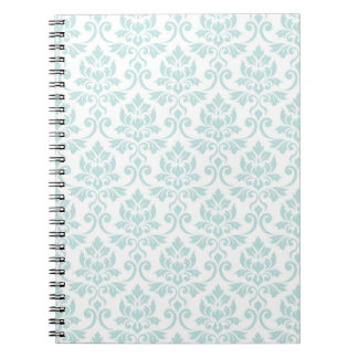 Feuille Damask Pattern Light Teal on White Spiral Notebook