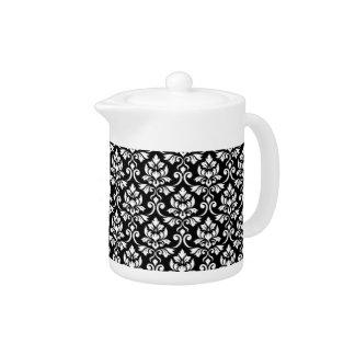 Feuille Damask Pattern White on Black