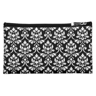 Feuille Damask Pattern White on Black Cosmetic Bag