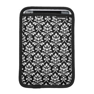 Feuille Damask Pattern White on Black iPad Mini Sleeve