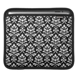 Feuille Damask Pattern White on Black iPad Sleeve