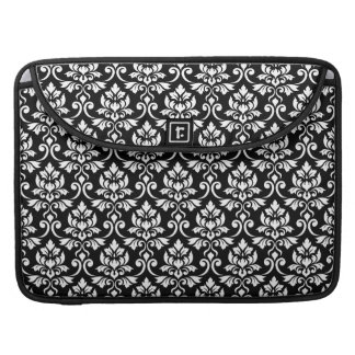 Feuille Damask Pattern White on Black Sleeve For MacBook Pro