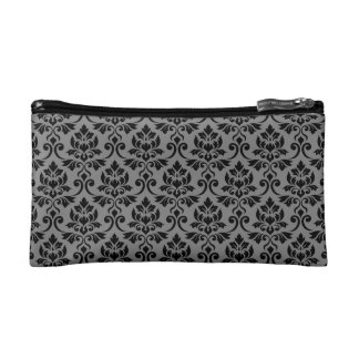 Feuille Damask Rpt Pattern Black on Gray Cosmetic Bag