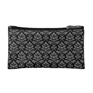 Feuille Damask Rpt Pattern Gray on Black Makeup Bag
