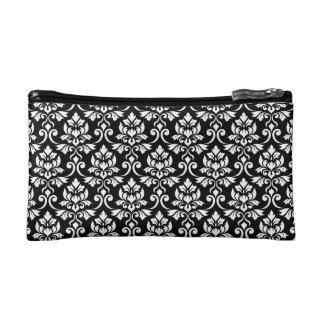 Feuille Damask Rpt Pattern White on Black Cosmetic Bag