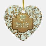 Feuille d'anniversaire de mariage d'or ornement