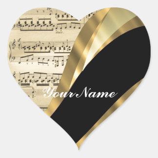 Feuille de musique élégante sticker cœur