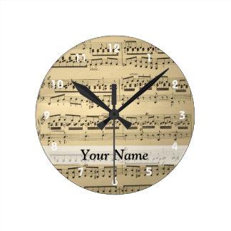 Feuille de musique vintage horloge ronde