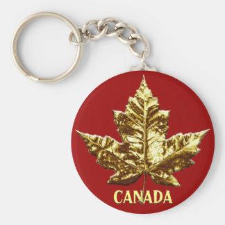 Feuille d'érable de chrome d'or de porte - clé de  porte-clé rond