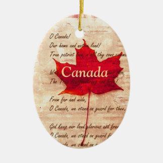 Feuille d'érable rouge - Canada Ornement Ovale En Céramique