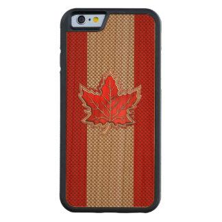 Feuille d'érable rouge canadienne sur la copie de coque iPhone 6 bumper en cerisier