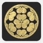 Feuille d'or japonaise de clan de Chosokabe lundi Sticker Carré