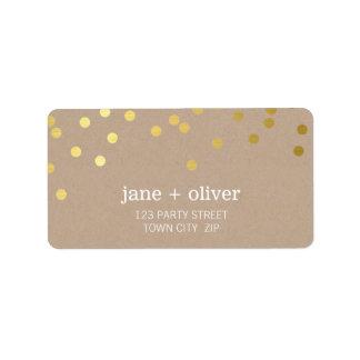 Feuille d'or moderne papier d'emballage de tache étiquette d'adresse