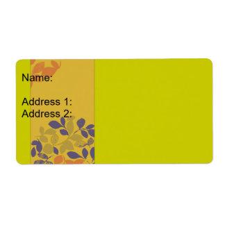 Feuille orange vert pourpre étiquette d'expédition