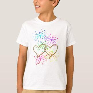 Feux d'artifice romantiques entrelacés de corde t-shirt