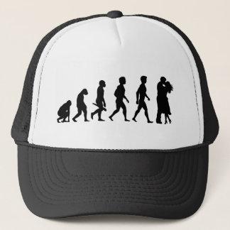 Few romance partnership relationship love kiss trucker hat