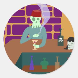 Fez Skull Martini Bar Classic Round Sticker