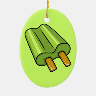 FFF0105 GREEN POPSICLE TREATS FOODS SWEETS VECTOR CERAMIC ORNAMENT