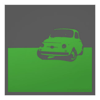 Fiat 500, 1959 - Green on gray poster